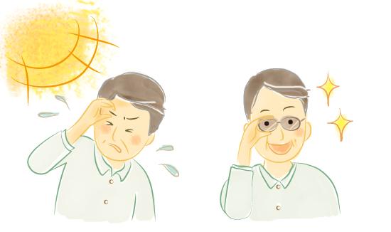 紫外線カットのサングラスをかけている男性