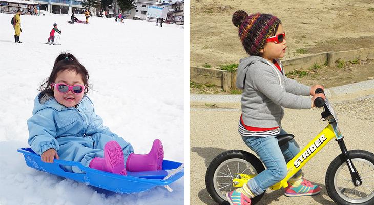 サングラスをかけた子どもの雪遊び、自転車遊び