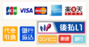 JCB VISA MASTER AMEX 楽天 代品引換 銀行振込 NP後払い:コンビニ 郵便 銀行